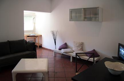 The apartment opens directly onto the living room, decorated in a minimalist style, with a double sofa bed (1.30 m wide), a television and a table for 4 people. Besides, there is the kitchen, with lar